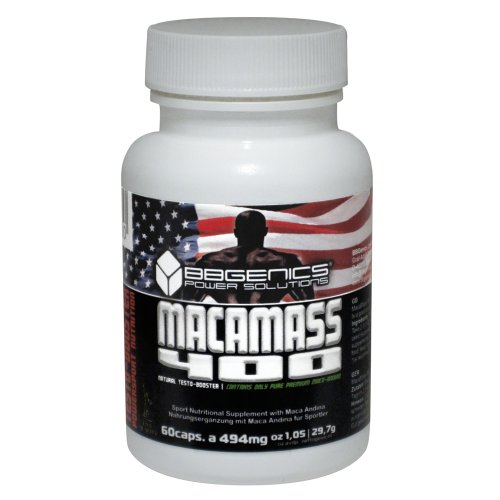 BBGenics, MacaMass 400, Testo-Booster, Anaboles Muskelaufbau-Supplement auf einer Maca-Andina Basis, 60 Caps