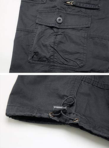 TACVASEN Men's Casual Pants Cotton Elastics Below Knee 3/4 Long Cargo Carpi Shorts with 7 Pockets