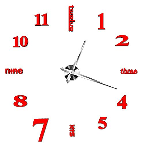 OOFYHOME Wall Clock 3D Mirror Wall Sticker DIY Wall Clock Fashion Wall Clock Silent Non-ticking Clock Home Decor for Living Room Bedroom , Red (Diy Beer Clock)