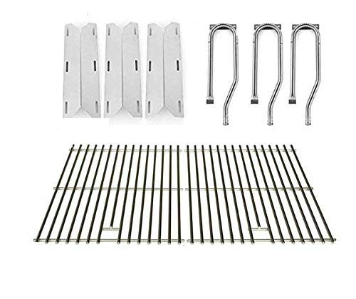 Repair Kit for Jenn Air 720-0336, 7200336, 720 0336 BBQ Gas Grill Includes 3 Stainless Burner, 3 Stainless Heat Plate and Stainless Cooking Grates by Grill Parts Zone