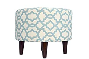 MJL Furniture Designs Sophia Collection Fabric Upholstered Round Footrest Ottoman with Round Espresso Finished Legs, Sheffield Series, Village Blue