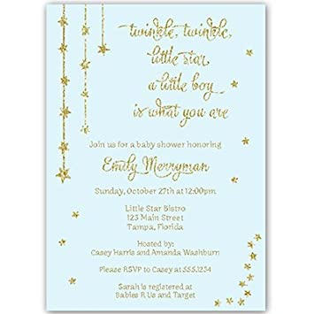 amazon com twinkle little star baby shower invitations blue gold