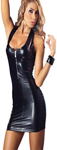 Canarea Reizwäsche Negligee Erotik Damen Sexy Push up Ouvert Latex Reißverschluss Club Kostüm Kleid Unterwäsche große größe (4XL, Schwarz)