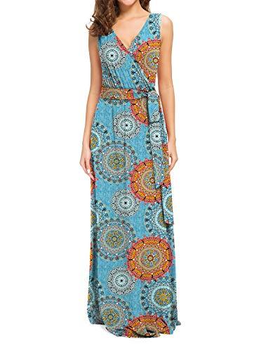 POKWAI Women Bohemian Printed Wrap Sleeveless Crossover Maxi Dress Casual Long Dress Beach Dress (Blend Blue,M)