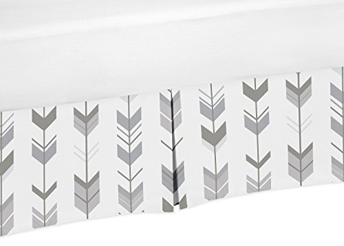 Sweet Jojo Designs Grey and White Pleated Toddler Bed Skirt Dust Ruffle for Woodland Arrow Collection