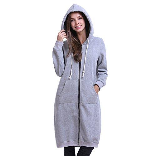 Lined Zipper Hoodie Sweatshirt Jacket - 6