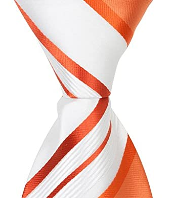85ee6031a857 Image Unavailable. Image not available for. Color: Matching Tie Guy 5168  XO11 - 15.25 in. Zipper Necktie - White With Orange Stripes&