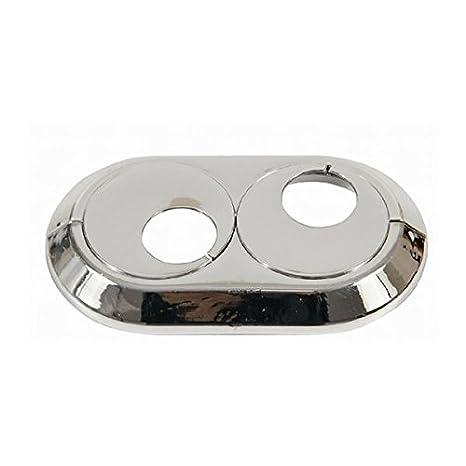 Collar doble cubierta de los tubos del radiador cromada pvc 15 mm Doble subió giratorio: Amazon.es: Bricolaje y herramientas