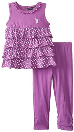 U.S. POLO ASSN. Little Girls' 2 Piece Ruffle Top with Ruched Leggings Set, Delta Purple, 6X