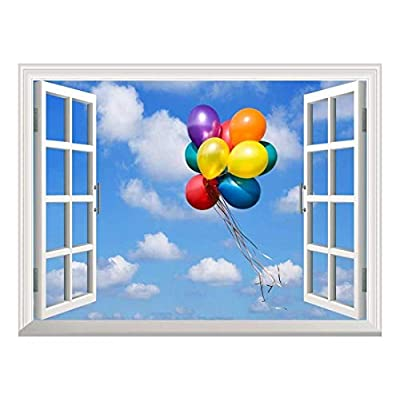 Removable Wall Sticker Wall Mural Colorful Balloons Flying in The Blue Sky Creative Window View Wall Decor, Made With Love, Lovely Picture