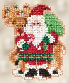 - Santa and Rudolph Beaded Counted Cross Stitch Ornament Kit Mill Hill 2012 Winter Holiday MH18-2305