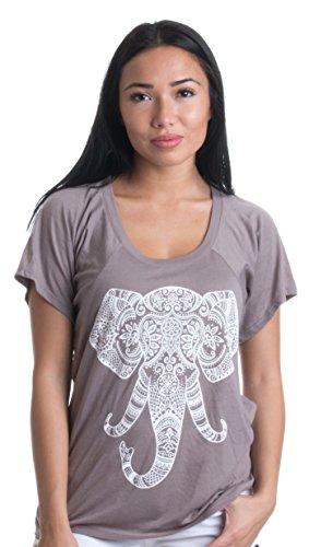 Ladies Elephant - Painted Elephant Tracing | Indian Art Yoga Motif Ladies' Flowy Open Neck T-shirt-(Flowy,S), Pebble Brown