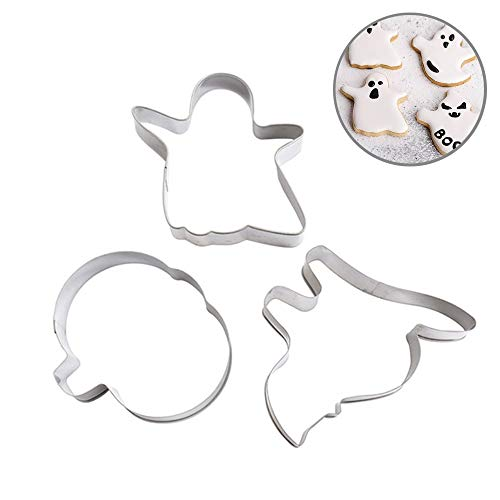 (Aolvo Mini Cookie Cutters Set of 3 Pcs Cracker Mold Stainless Steel Biscuit Cutter Set Halloween Cookie Cutters Pumpkin Ghost Cat Shaped Cookie Cutter Pastry Cutter Mold Baking)