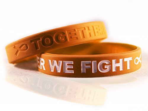 Cancer & Cause Awareness Bracelets with Saying Together WE Fight, Gift for Patients, Survivors, Family and Friends, Set of 2 Ribbon Silicone Rubber Wristbands for All (Childhood Cancer Gold)
