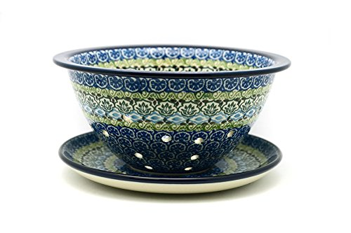Polish Pottery Berry Bowl with Saucer - Tranquility