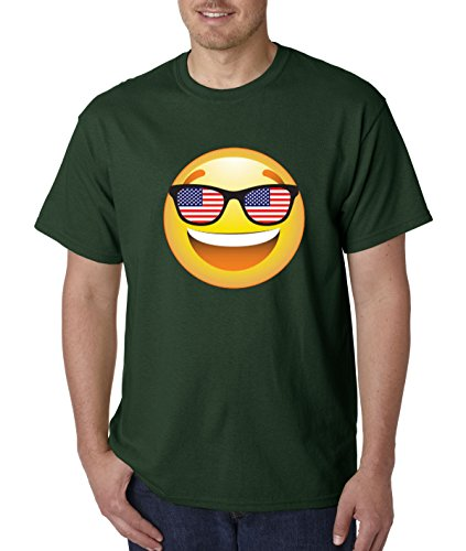 T-Shirt Emoji Smiley Face USA American Flag Sunglasses 4th July 4XL Forest Green ()