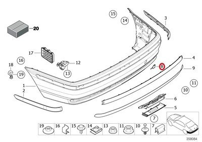 BMW Genuine Rear Bumper Trim Cover Primed Towing Eye Flap 320i 323i 325i 325xi 328i 330i 330xi
