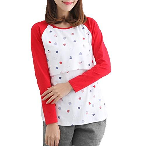 L'Allattamento Shirt Top Allattamento Incinta Manica Lunga Donna Tayaho Bluse Maglietta Premaman Girocollo Red Top T a Gravidanza Comoda wO465Eq