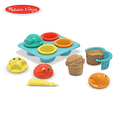 Toys Cupcake - Melissa & Doug Sunny Patch Seaside Sidekicks Sand Cupcake Play Set (Beach and Sandbox Toy, 12 Pieces)