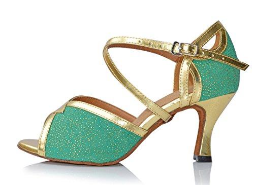 TDA Women's Flared Heel Schnalle Peep Toe Synthetische Salsa Tango Ballroom Latin Tanzschuhe Grün