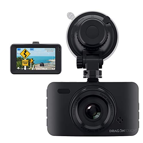 Dragon Touch D1 Dash Cam 3 LCD 1080P Full HD Car Dashboard Camera, 170°Wide Angle Car Recorder with G-Sensor, WDR, Loop Recording