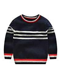 CJ Fashion Boys Pullover Sweaters Crewneck Knitwear for Kids 2-7Y with Strips