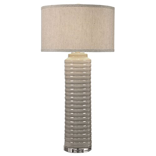 Ivory Gray Ribbed Cylinder Table Lamp -