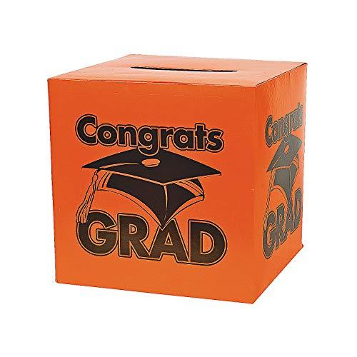 Fun Express - Congrats Grad Orange Card Box for Graduation - Party Supplies - Containers & Boxes - Paper Boxes - Graduation - 1 -