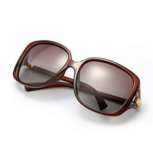 Classic Oversized Polarized Sunglasses 100% UV Protection Eyewear for Women (Brown, - Glare Sunglasses No Hunting