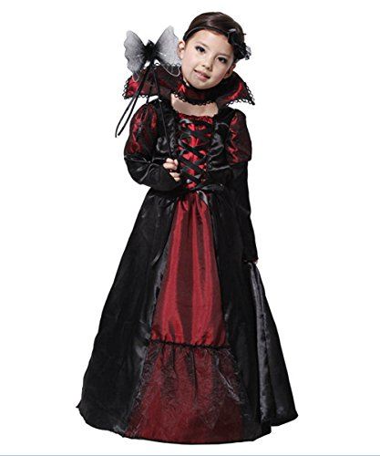 Costume Child Princess Vampire (Girls Vampire Costume Princess Queen Fancy Dress Halloween Outfit)