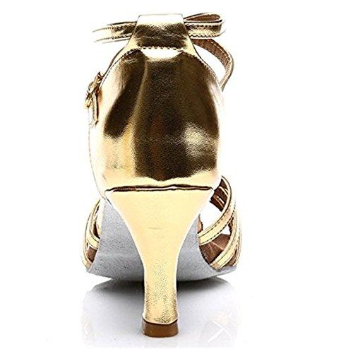 de Mujer Baile Tango A Salón Adulta Zapatos 7cm de Zapatos Latino Tacón de Danza Zapatos Medio Salsa Dorado Baile de Tacon de YOGLY aqX5xzAA