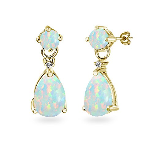 (Yellow Gold Flashed Sterling Silver Simulated White Opal Teardrop Dangle Earrings)