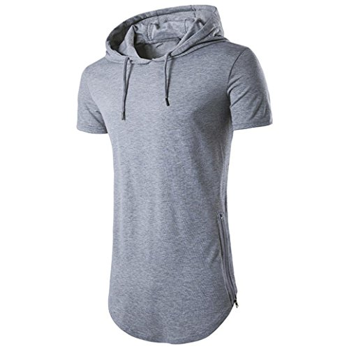 FUNIC Mens Hipster Hip Hop Shirt, Short Sleeve Longline Pullover Hoodies Blouse (Large, - Pullover Long Linen