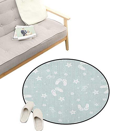 Aqua Round Rugs ,Beach Theme Design Shells Starfishes Flip Flops Glasses Summer Holiday Image, Design Home Decoration 31