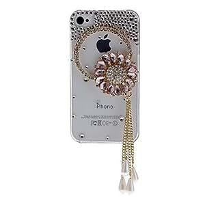MOFY- Girasol exquisito con Bella Cristal y caja dura transparente del diamante con adhesivo de u–as para el iPhone 4/4S
