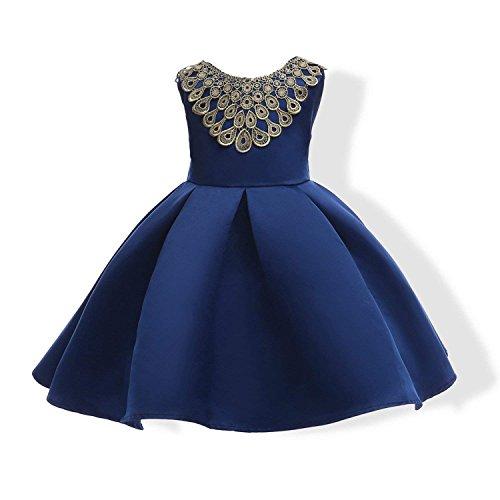 Mistere childrens-costumes Children Clothing Princess Dress of Girls Baby Girl Reception Formal Dresses,7,DarkBlue