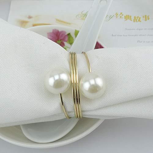 KathShop 10Pcs/Set Napkin Rings Elegant Pearl Metal Napkin Buckle Holder Hotel Cafe Wedding Christening Party Dinner Decoration Supplies