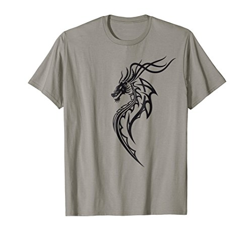 Wings Dragon Tribal (T-Shirt. Fantasy fire dragon with wings. Tattoo, Tribal tee.)