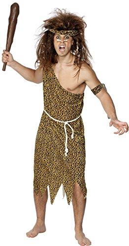 [Smiffy's Men's Caveman Costume, Tunic, Headband, Armband and Belt, Caveman, Serious Fun, Size L,] (Caveman Girl Halloween Costume)