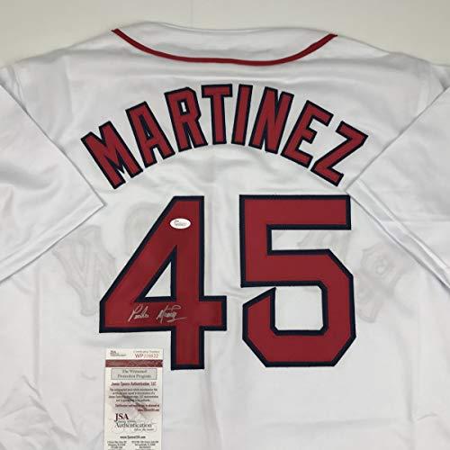 Autographed/Signed Pedro Martinez Boston White Baseball Jersey JSA COA (Pedro Martinez Autographed Baseball)