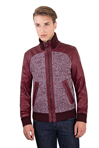 Bordeaux Nappa Lamb Leather Bomber Jacket Frontal Woven Wool - 48 / S, Red Purple