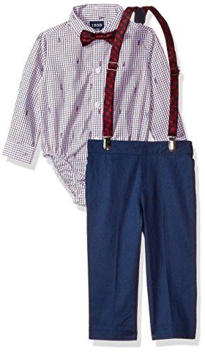 IZOD Baby Boys' Suspender Set, Red, 18M