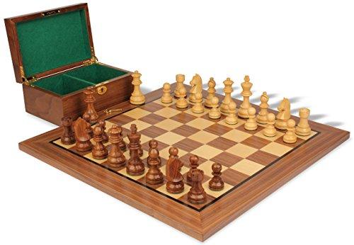 Knight Chess German Set (German Knight Staunton Chess Set in Golden Rosewood & Boxwood with Walnut Board & Box - 2.75