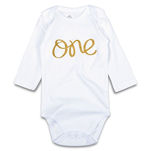 s First Birthday Bodysuit Glitter Gold One 1st Birthday Outfit (9-12 Months, White Long) ()