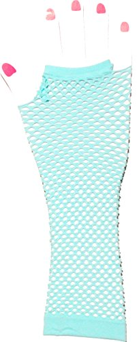 Neon Fish Net Long Arm Sleeve Glove Trendy Fashion Punk Style (Light Blue)]()