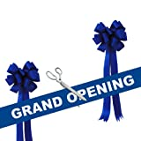 Grand Opening Kit - 15'' Chrome Plated Ceremonial Ribbon Cutting Scissors with 5 Yards of 6'' Blue Grand Opening Ribbon and 2 Royal Blue Bows