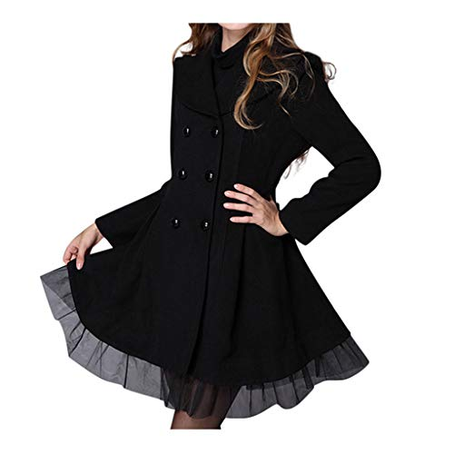 iYYVV Women Flare Lace Double Breasted Trench Jacket Ladies Long Lapel Outwear Peacoat Black