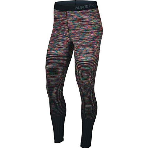 - Nike Women's Pro Hyperwarm Fleece Printed Athletic Tights Leggings (Medium, Pink/Multi-Color/Black)