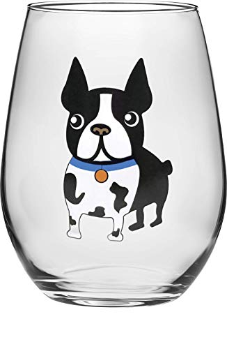 (Circleware 15503 Boston Terrier Puppy Stemless Wine, Set of 2, Beverage Drinking Glassware for Water, Juice, Beer, Whiskey Glass and Best Selling Home & Kitchen Dining Gifts, 18.9 oz, Blue-Dog)