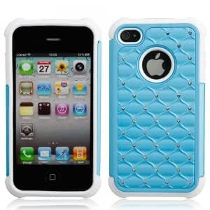 Gypsophila Style Protective PVC Silicone Case for iPhone 4/4S Azure & White